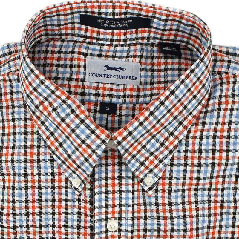 Button Down in Orange and Blue Check by Country Club Prep