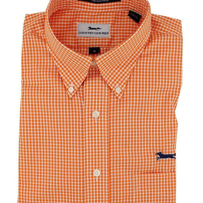 Men's Button Downs - Button Down In Orange Mini Gingham By Country Club Prep - FINAL SALE