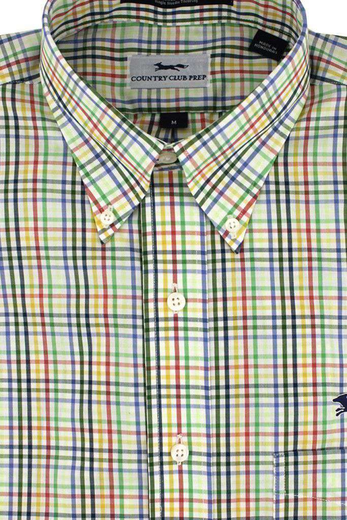 Button Down in Periwinkle Multi Check by Country Club Prep