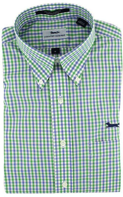 Men's Button Downs - Button Down In Periwinkle Multi Gingham By Country Club Prep
