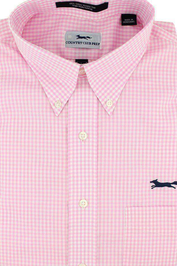 Button Down in Pink Mini Gingham by Country Club Prep