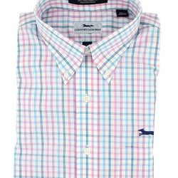Men's Button Downs - Button Down In Pink Multi Check By Country Club Prep - FINAL SALE