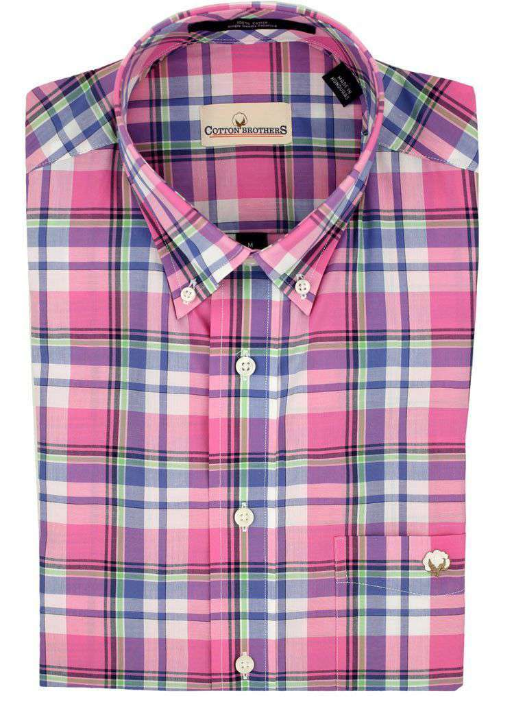 Men's Button Downs - Button Down In Pink Plaid By Cotton Brothers
