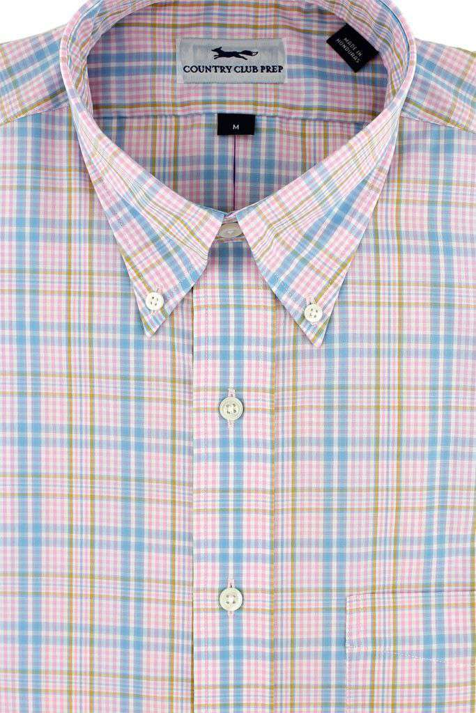Men's Button Downs - Button Down In Pink Plaid By Country Club Prep - FINAL SALE