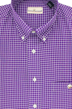 Men's Button Downs - Button Down In Purple Small Check By Cotton Brothers