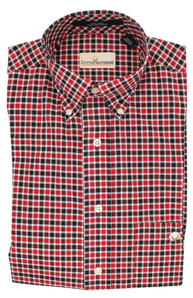Men's Button Downs - Button Down In Red Black Plaid By Cotton Brothers