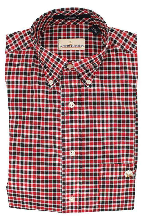 Button Down in Red Black Plaid by Cotton Brothers