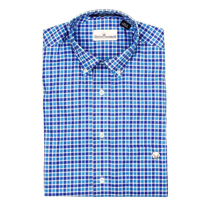 Men's Button Downs - Button Down In Royal And Turquoise Check By Cotton Brothers