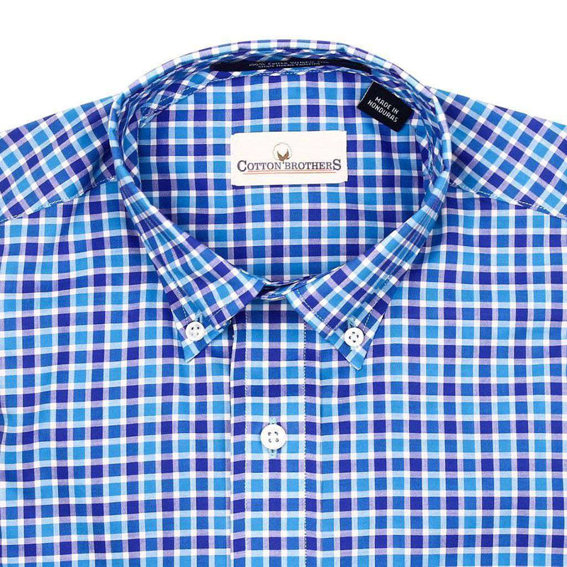 Button Down in Royal and Turquoise Check by Cotton Brothers