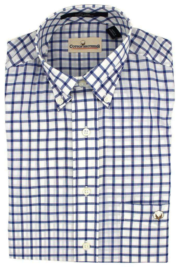 Button Down in Royal Blue Check by Cotton Brothers