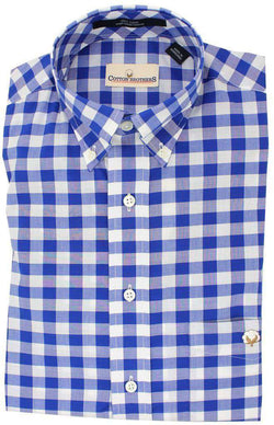 Men's Button Downs - Button Down In Royal Blue Gingham By Cotton Brothers