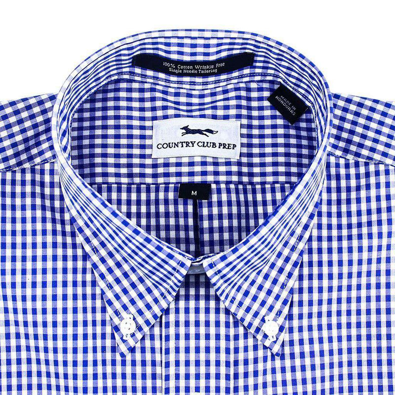 Button Down in Royal Blue Gingham by Country Club Prep