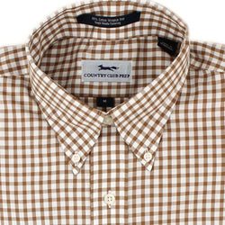 Men's Button Downs - Button Down In Saddle Brown Gingham By Country Club Prep