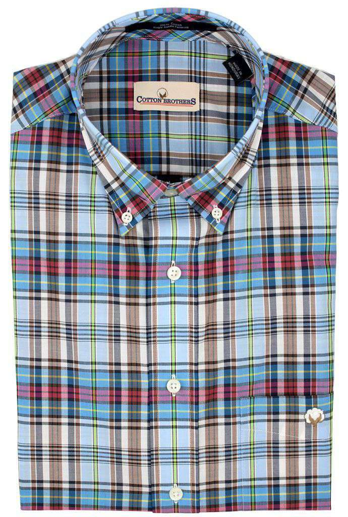 Men's Button Downs - Button Down In Turquoise Plaid By Cotton Brothers