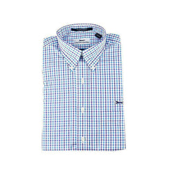 Men's Button Downs - Button Down In Turquoise & Purple Gingham By Country Club Prep - FINAL SALE