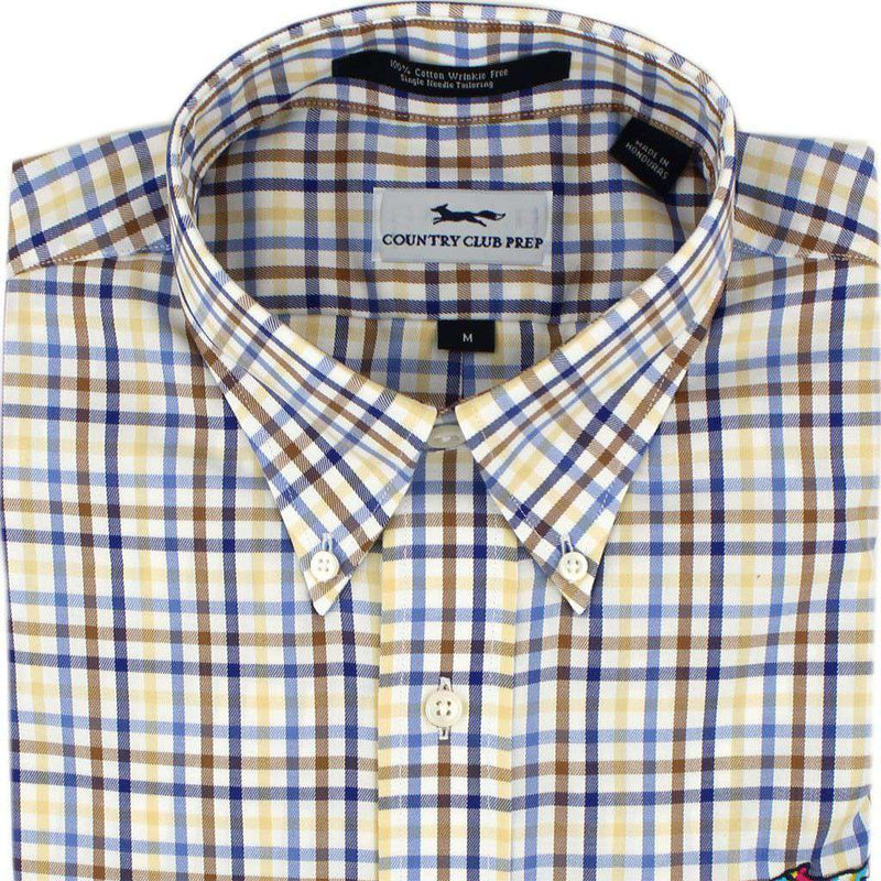 Men's Button Downs - Button Down In Yellow And Chesnut Multi Check By Country Club Prep - FINAL SALE