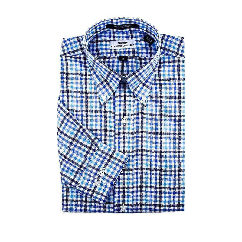 Men's Button Downs - Button Down Navy & Blue Check By Country Club Prep - FINAL SALE