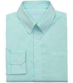 Men's Button Downs - Castle Harbor Stripe Sport Shirt In Bermuda Teal By Southern Tide