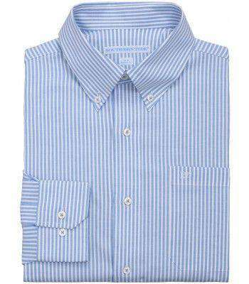 Men's Button Downs - Castle Harbor Stripe Sport Shirt In Charting Blue By Southern Tide