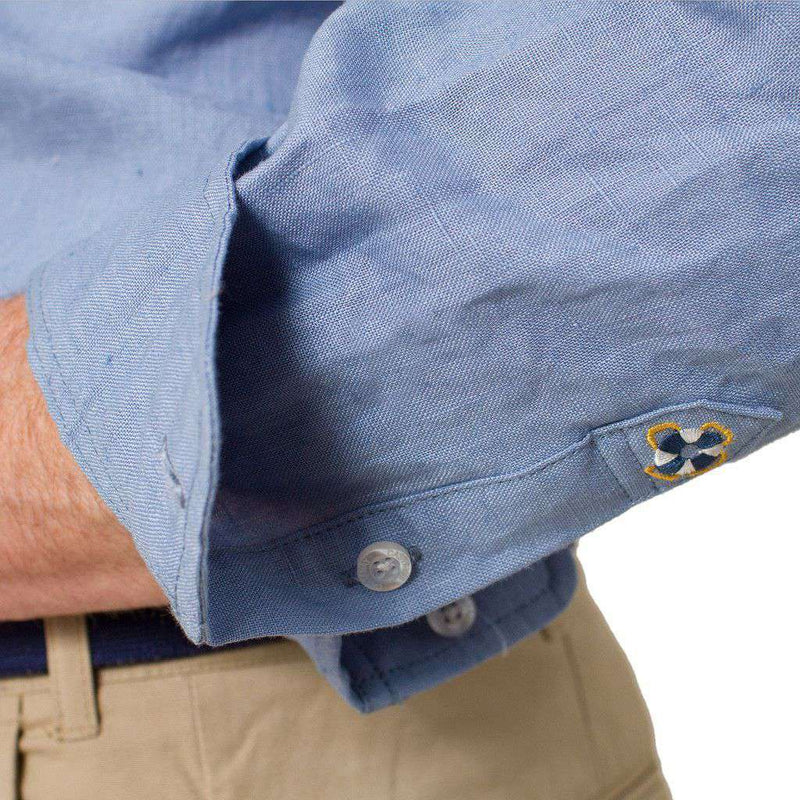 Men's Button Downs - Chase Long Sleeve Linen Shirt In Great Point Blue By Castaway Clothing