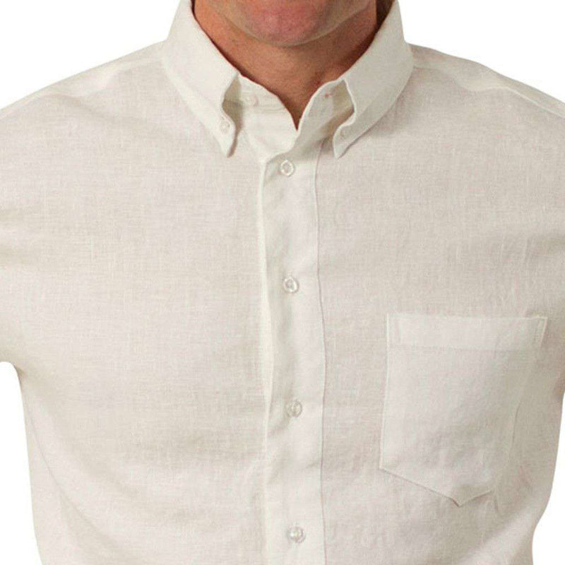 Men's Button Downs - Chase Long Sleeve Linen Shirt In White By Castaway Clothing
