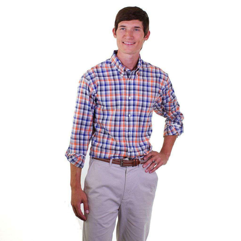 Men's Button Downs - Classic Straight Gingham Wharf Shirt In Harvest Square Pumpkin By Castaway Clothing - FINAL SALE
