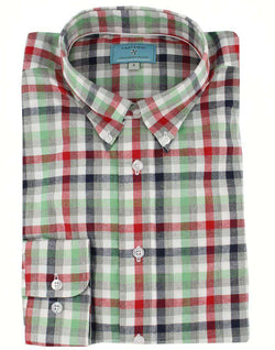 Men's Button Downs - Classic Straight Gingham Wharf Shirt In Seafoam By Castaway Clothing - FINAL SALE