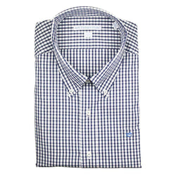 Men's Button Downs - Classic Tattersall Sport Shirt In Deep Ocean By Southern Tide