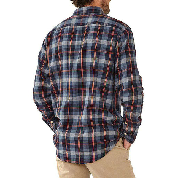 Conrad Plaid Woven Button Down In Navy/Orange by The Normal Brand - FINAL SALE