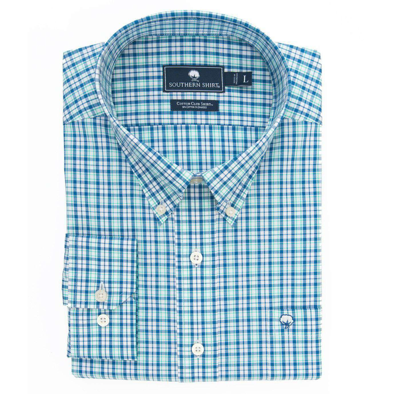 Men's Button Downs - Crawford Plaid Cotton Club Shirt In Regatta Blue By The Southern Shirt Co.