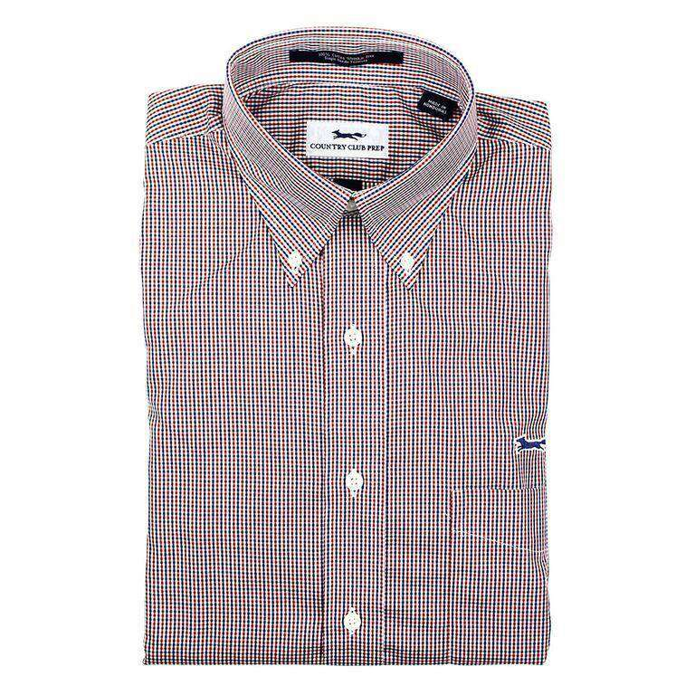 Men's Button Downs - Crimson, White And Blue Button Down By Country Club Prep