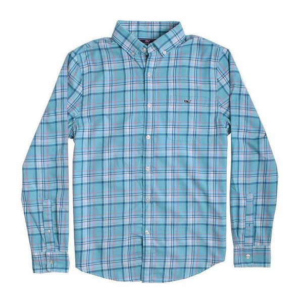 Men's Button Downs - Custom Loblolly Plaid Performance Flannel Slim Tucker Shirt In Aqua Ocean By Vineyard Vines - FINAL SALE