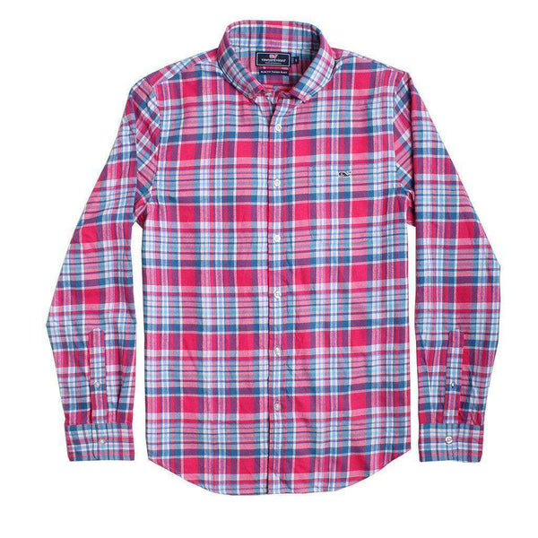 Men's Button Downs - Custom Middleton Place Plaid Performance Flannel Slim Tucker Shirt In Rose Pink By Vineyard Vines - FINAL SALE