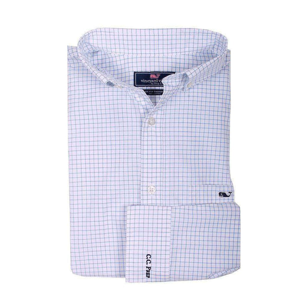 Men's Button Downs - Custom Navy Beach Check Classic Tucker Shirt In Regatta Blue By Vineyard Vines - FINAL SALE