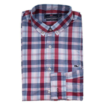 Men's Button Downs - Custom Patriots Point Plaid Slim Tucker Shirt In Pomegranate By Vineyard Vines - FINAL SALE