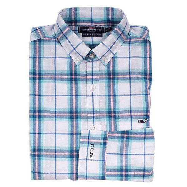 Men's Button Downs - Custom Picket Plaid Slim Tucker Shirt In Aqua Ocean By Vineyard Vines - FINAL SALE