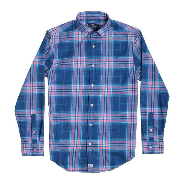 Men's Button Downs - Custom Point Lobos Plaid Performance Flannel Classic Murray Shirt In Bahama Breeze By Vineyard Vines - FINAL SALE
