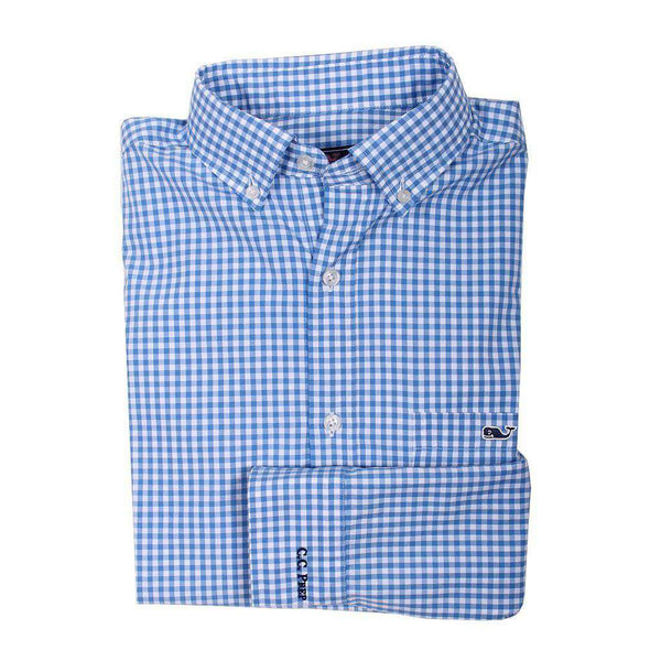 Men's Button Downs - Custom Seafloor Gingham Classic Tucker Shirt In Hull Blue By Vineyard Vines - FINAL SALE
