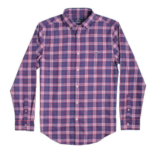 Men's Button Downs - Custom Silver Peak Plaid Performance Flannel Classic Tucker Shirt In Barberry By Vineyard Vines - FINAL SALE