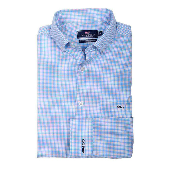 Men's Button Downs - Custom Stowaway Plaid Classic Tucker Shirt In Ocean Breeze By Vineyard Vines - FINAL SALE