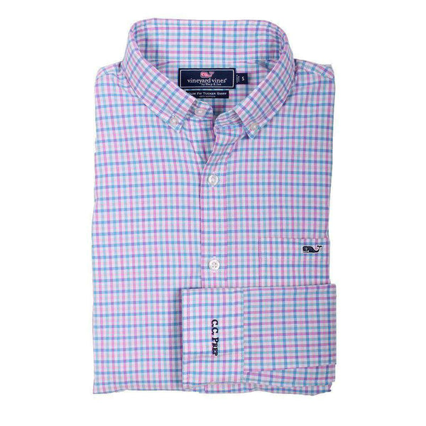 Men's Button Downs - Custom Sweetgum Gingham Slim Tucker Shirt In Allium By Vineyard Vines - FINAL SALE