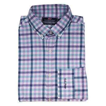 Men's Button Downs - Custom Triggerfish Gingham Slim Murray Shirt In Crocus By Vineyard Vines - FINAL SALE