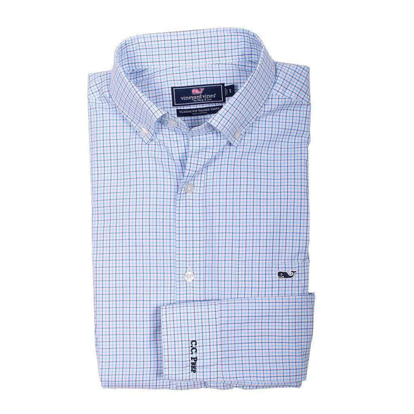 Men's Button Downs - Custom Twin Pond Tattersall Classic Tucker Shirt In Ocean Breeze By Vineyard Vines - FINAL SALE