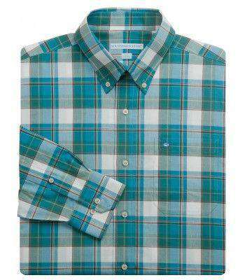 Men's Button Downs - Cypress Gardens Classic Fit Sport Shirt In Pine Grove By Southern Tide