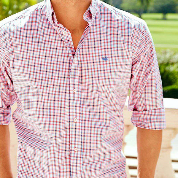 Dunlavy Check Dress Shirt in Navy and Bisque by Southern Marsh