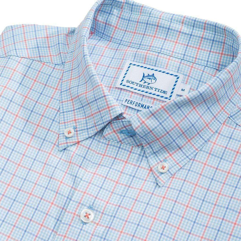 Edisto Island Plaid Intercoastal Performance Shirt in Sky Blue by Southern Tide