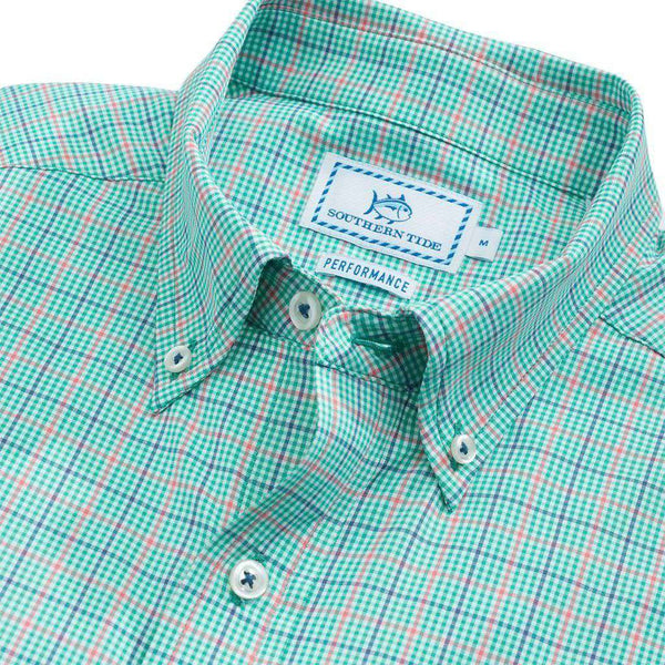 Edisto Island Plaid Intercoastal Performance Shirt in Tropical Palm by Southern Tide