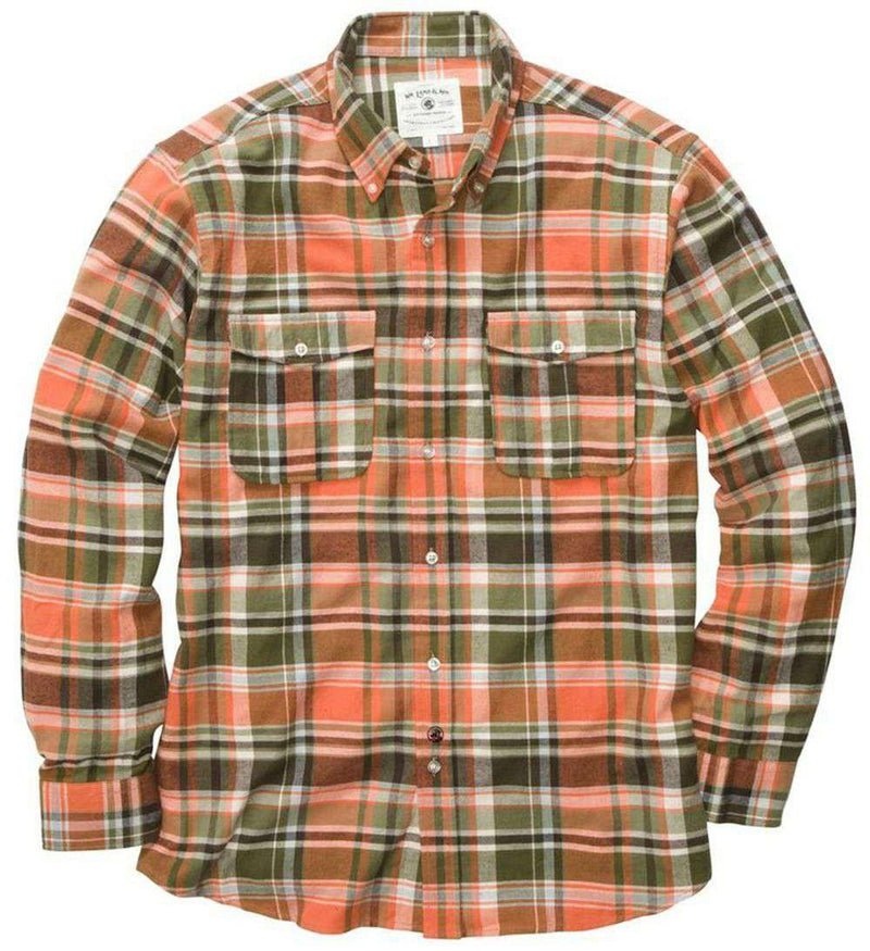 Men's Button Downs - Field Flannel Shirt In Green By Southern Proper