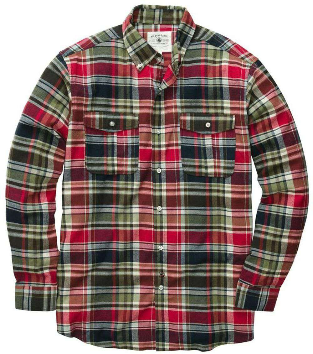 Men's Button Downs - Field Flannel Shirt In Red By Southern Proper