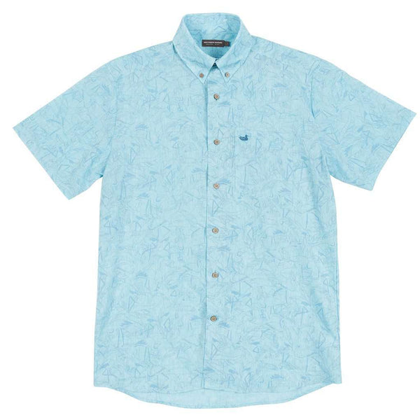 Men's Button Downs - Flamingos Island Linen Shirt In Bimini Green By Southern Marsh